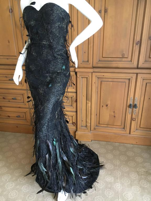 Oscar de la Renta Black and Gold Feather Trimmed Evening Gown with Train 3