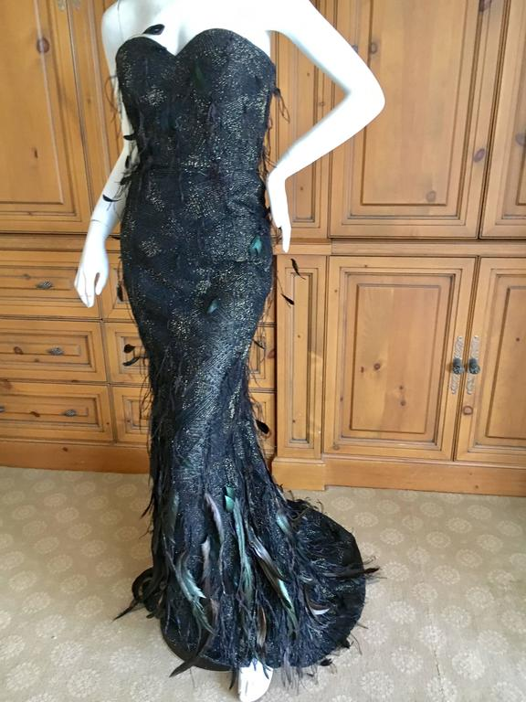 Oscar de la Renta Black and Gold Feather Trimmed Evening Gown with Train 4