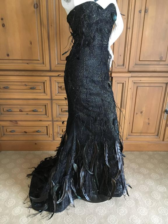 Oscar de la Renta Black and Gold Feather Trimmed Evening Gown with Train 5