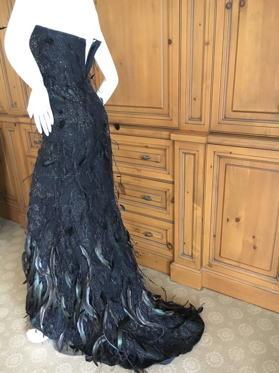 Oscar de la Renta Black and Gold Feather Trimmed Evening Gown with Train 6