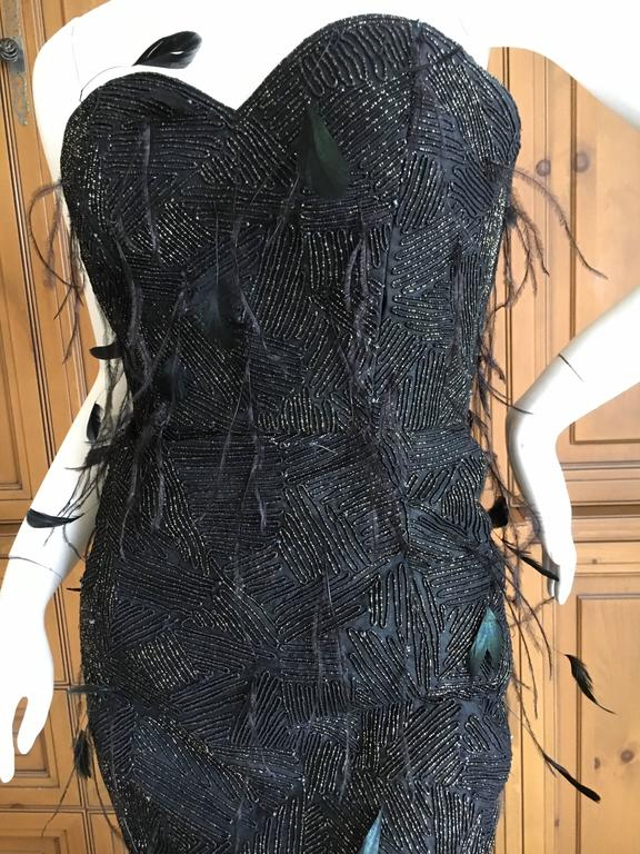 Oscar de la Renta Black and Gold Feather Trimmed Evening Gown with Train 9