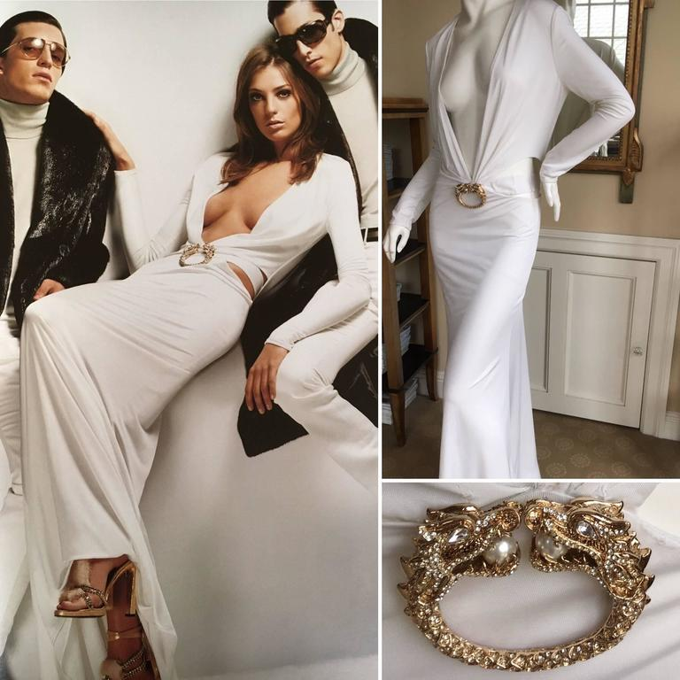 Gucci by Tom Ford Ad Campaign Low Cut White Dress with Gold Jeweled ...