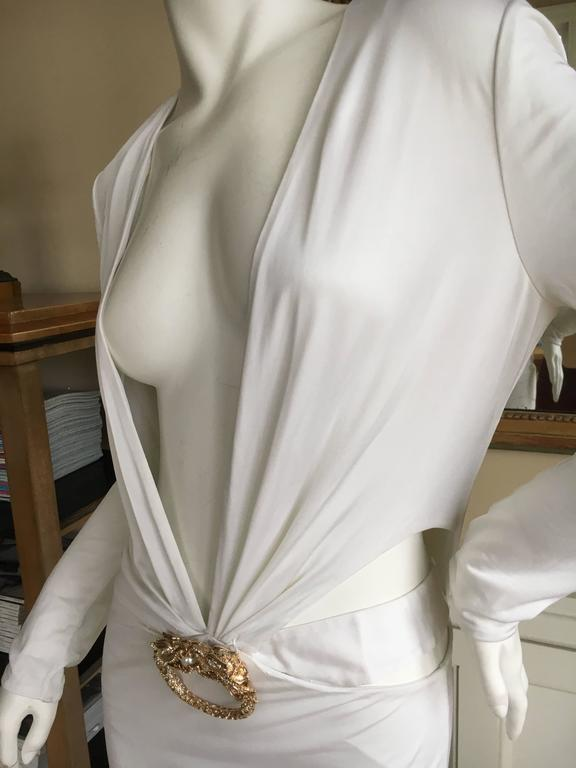 68ca12de6 Gray Gucci by Tom Ford Ad Campaign Low Cut White Dress with Gold Jeweled  Dragon For