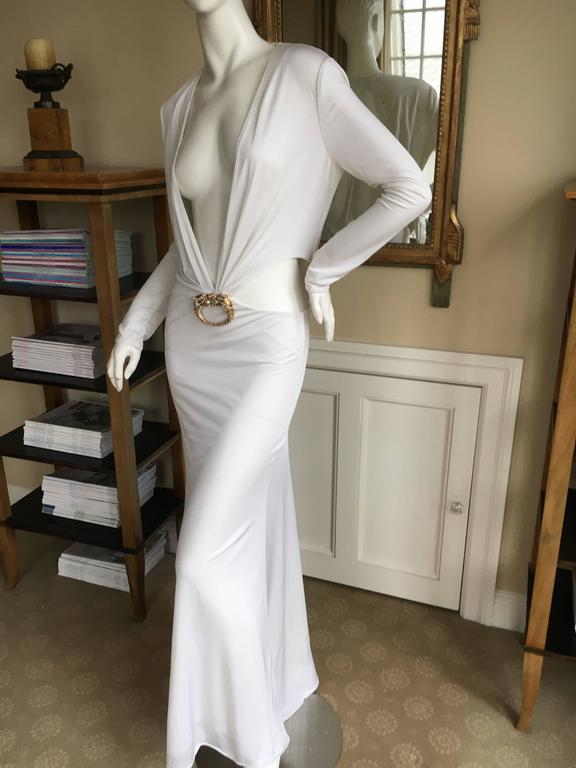 d9d8df431 Gucci by Tom Ford Ad Campaign Low Cut White Dress with Gold Jeweled Dragon  For Sale