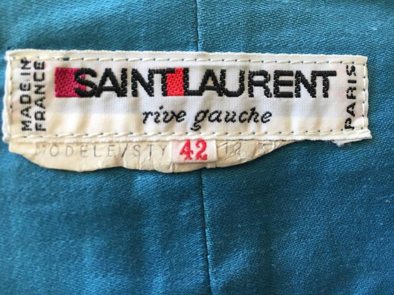Yves Saint Laurent Rive Gauche 1970's Turquoise Silk Moire Corset Lace Top For Sale 3