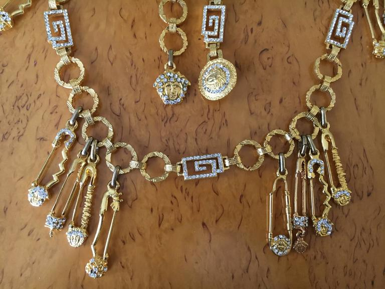 Gianni Versace Rare Vintage Crystal Embellished Greek Key Safety Pin Medusa Bel For Sale 4
