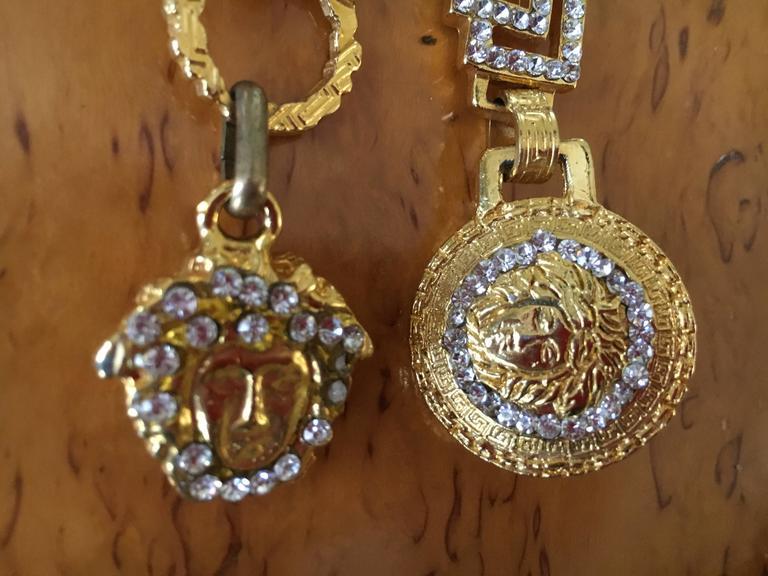 Women's or Men's Gianni Versace Rare Vintage Crystal Embellished Greek Key Safety Pin Medusa Bel For Sale