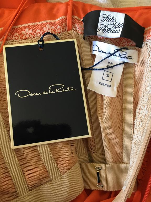 Oscar de la Renta Tangerine Strapless Evening Dress with Detachable Scarf Cape For Sale 5