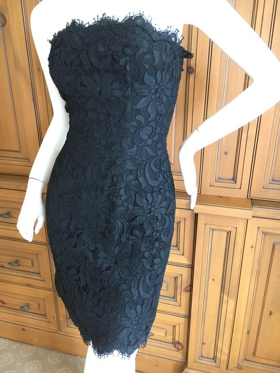 Christian Lacroix Black Lace Strapless Mini Dress XS In Excellent Condition For Sale In San Francisco, CA