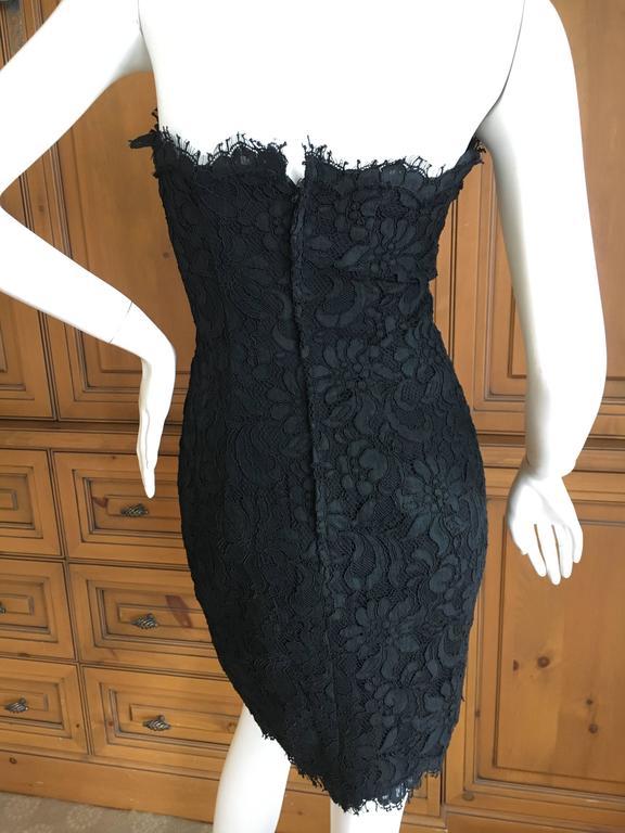 Christian Lacroix Black Lace Strapless Mini Dress XS For Sale 1
