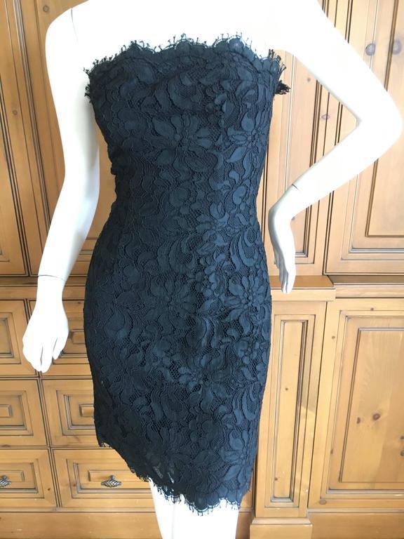 Christian Lacroix Black Lace Strapless Mini Dress XS For Sale 2