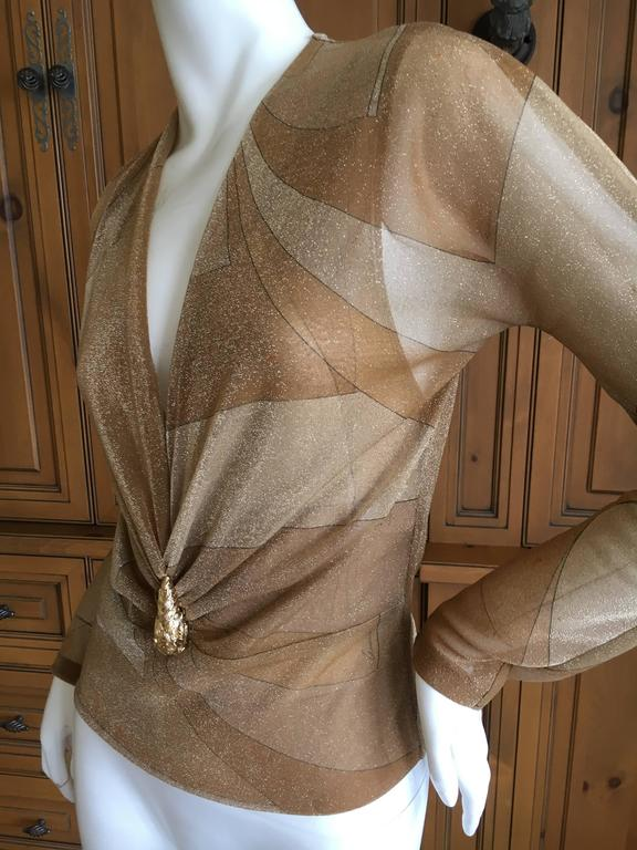 Gucci by Tom Ford Glittering Sheer Gold Top with Dragon Ornament 5