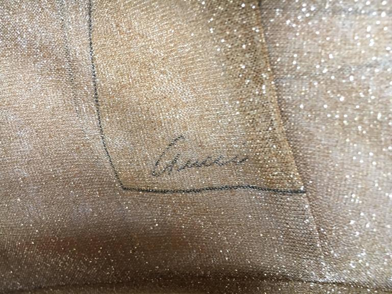 Gucci by Tom Ford Glittering Sheer Gold Top with Dragon Ornament For Sale 2