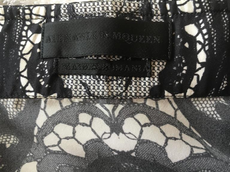 Alexander McQueen Fantastic Death Head Skull Silk Dress Shirt With French Cuffs 7