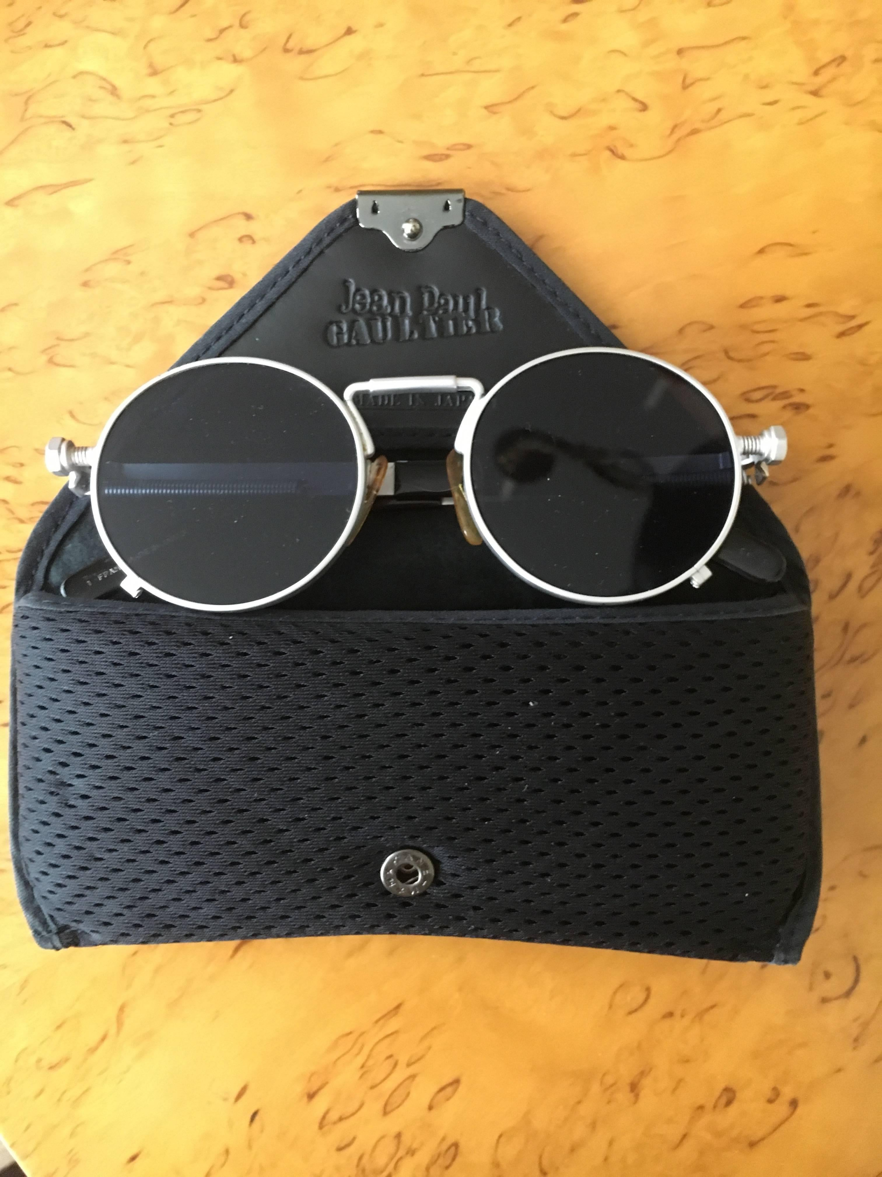 fe6f0a90085 Jean Paul Gaultier Matte Silver Round Sunglasses 56-8171 Japan with Case  For Sale at 1stdibs