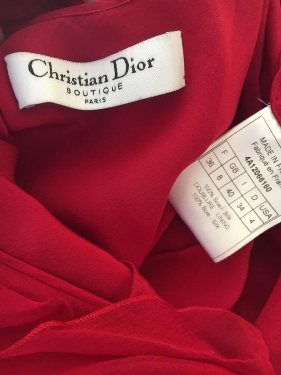 Christian Dior by John Galliano Ruffled Red Silk Dress For Sale 5
