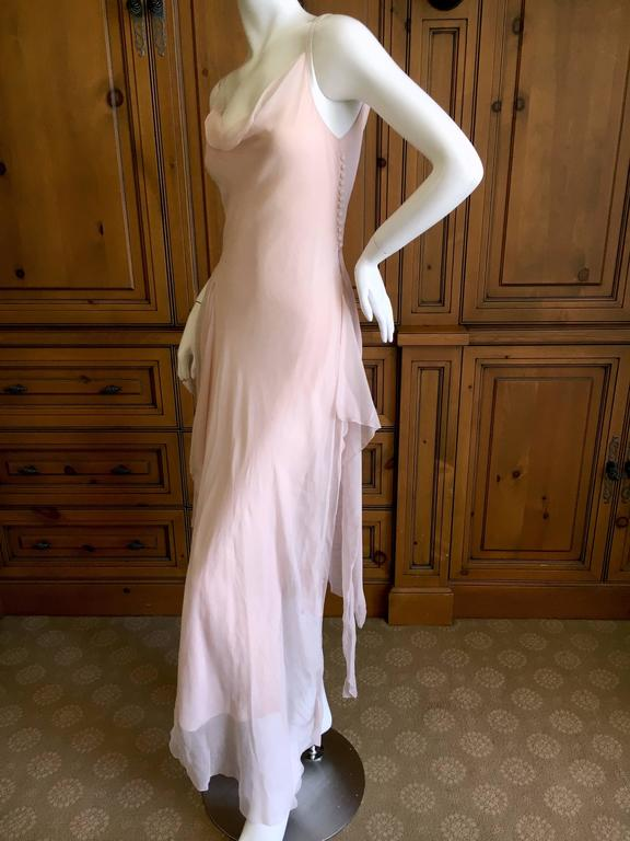 John Galliano Late 1980s Diaphanous Bias Cut Blush Silk