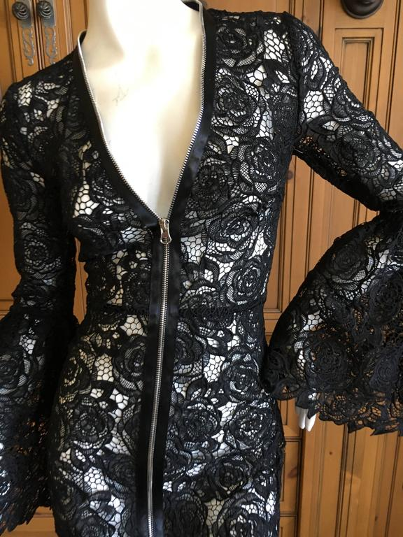 Mc Q Alexander McQueen Black Lace Bell Sleeve Dress In Excellent Condition For Sale In San Francisco, CA