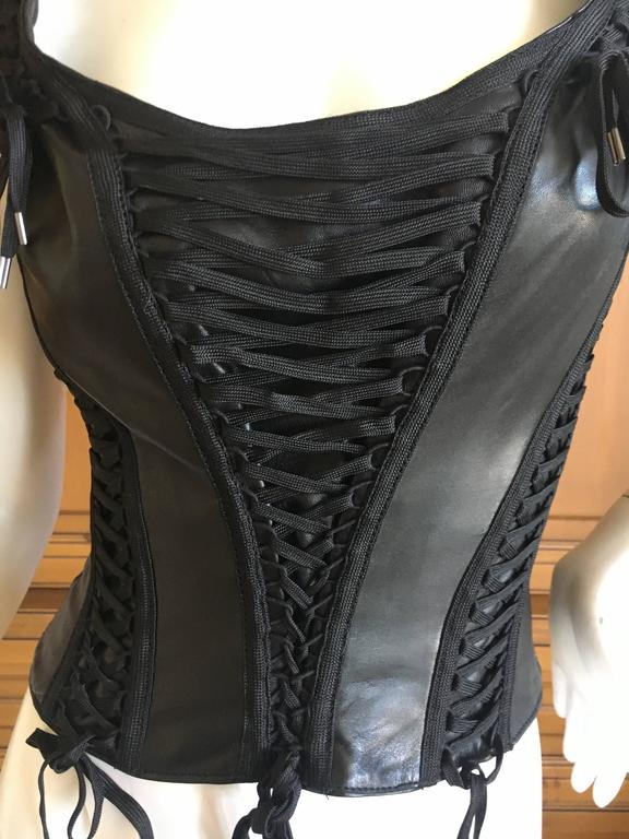 5271856205cf3a Christian Dior by John Galliano Black Leather Corset Lace Bondage  Sleeveless Top. This is a