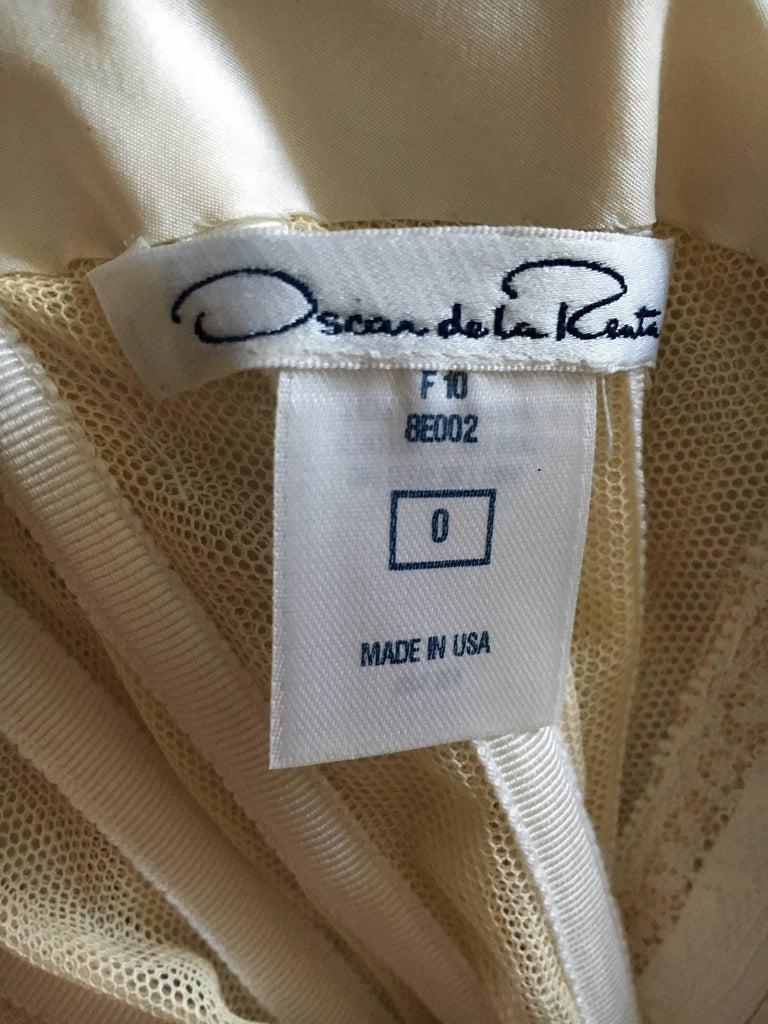 Oscar de la Renta Strapless Silver White Built in Corset Sequin Evening Dress For Sale 2