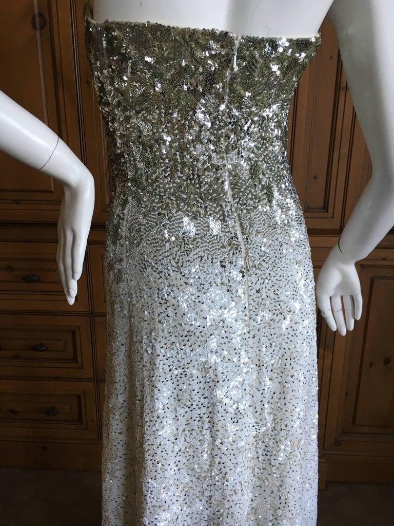 Oscar de la Renta Strapless Silver White Built in Corset Sequin Evening Dress For Sale 3