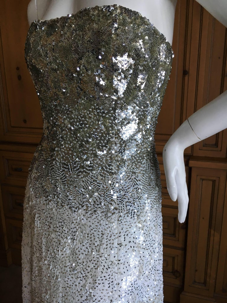 Oscar de la Renta Strapless Silver White Built in Corset Sequin Evening Dress For Sale 4
