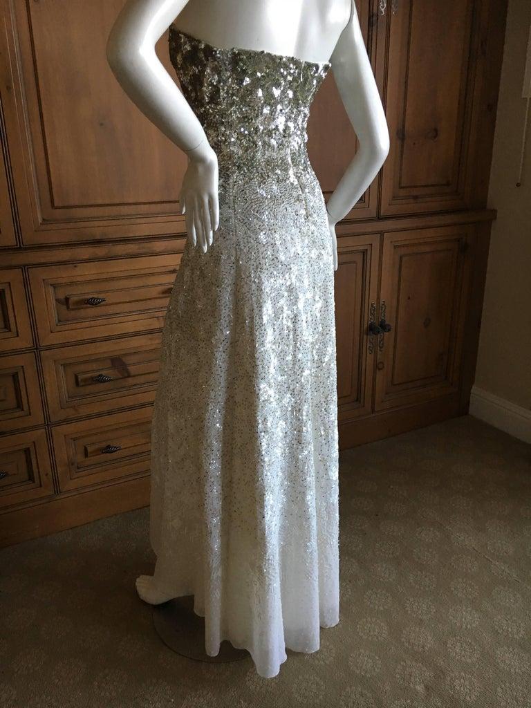 Oscar de la Renta Strapless Silver White Built in Corset Sequin Evening Dress For Sale 5