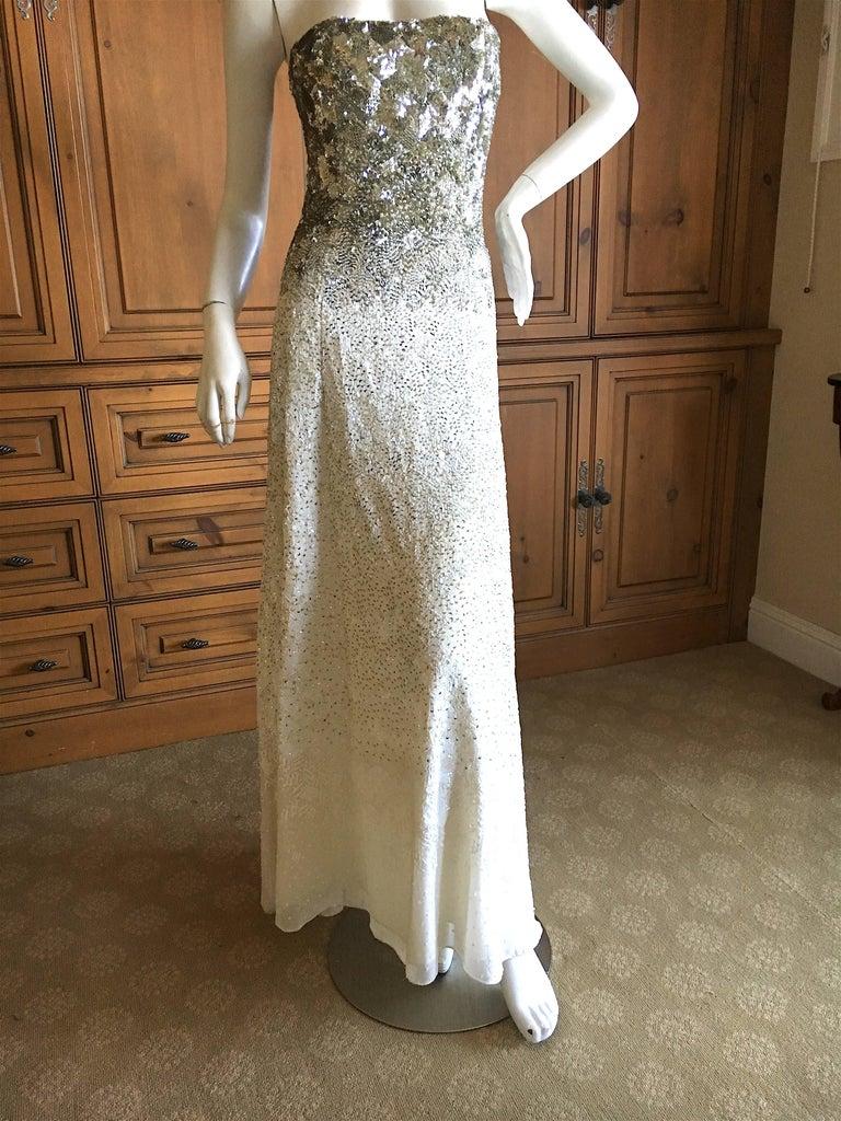 Gray Oscar de la Renta Strapless Silver White Built in Corset Sequin Evening Dress For Sale