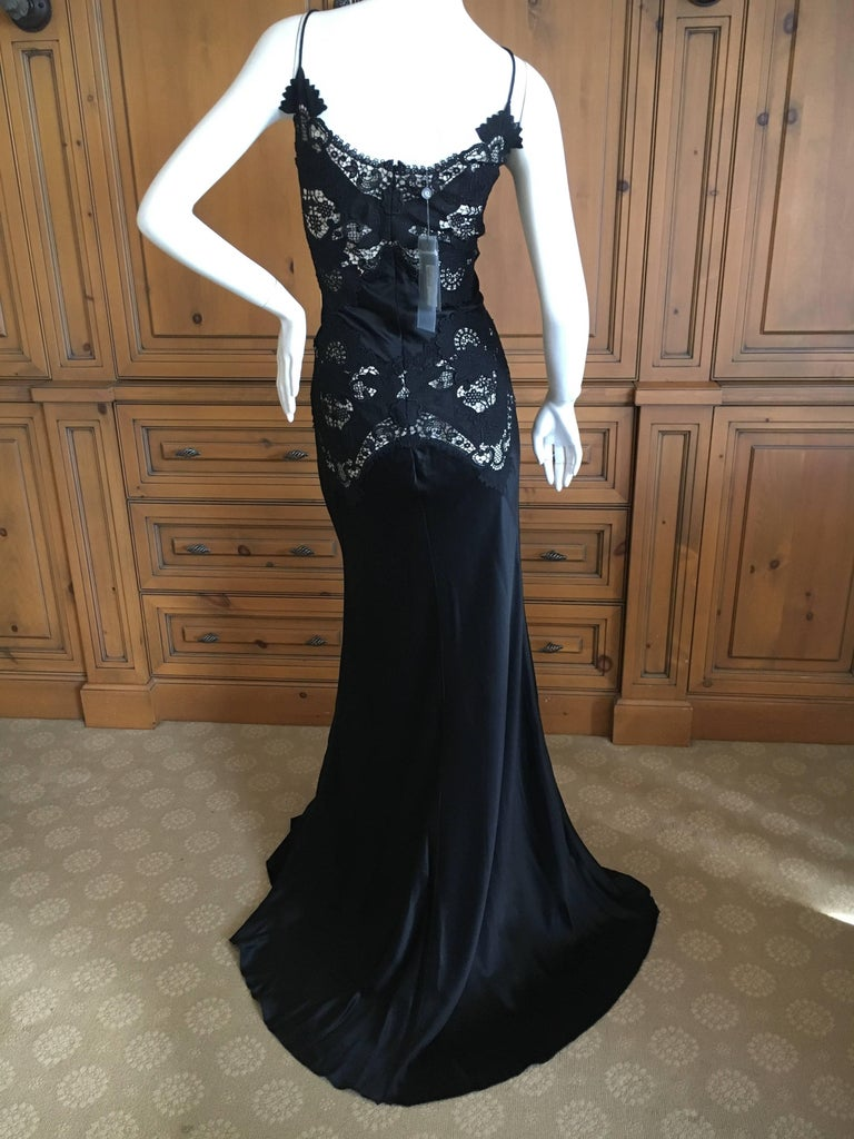 Alexander McQueen Black Evening Dress with Sheer Guipure Lace Details 2004 Sz 46 8