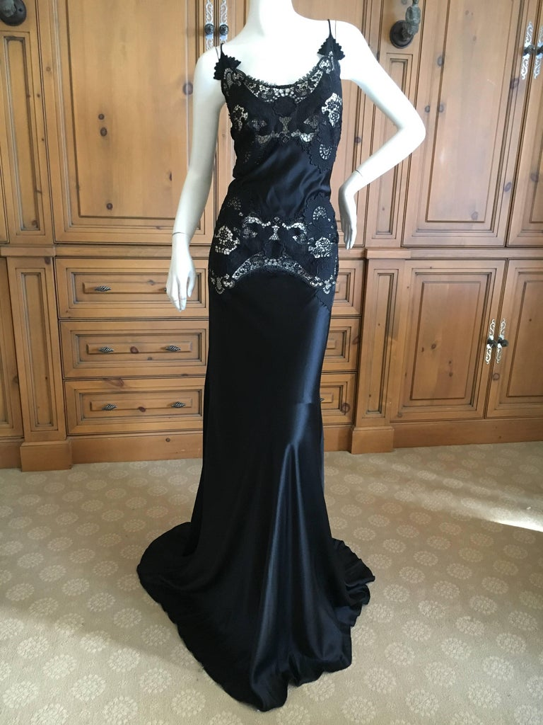 Alexander McQueen Black Evening Dress with Sheer Guipure Lace Details 2004 Sz 46 3