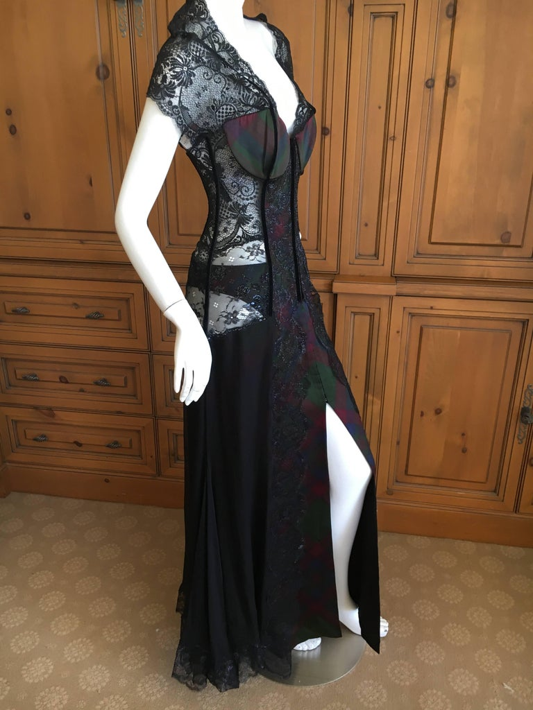 Christian Dior Gianfranco Ferre Final Collection 1996 Plaid Lace Evening Dress For Sale 3
