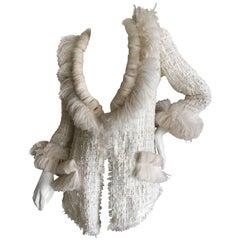 Chanel Maison Lemarié Feather Trim Fantasy Tweed Fringed Jacket