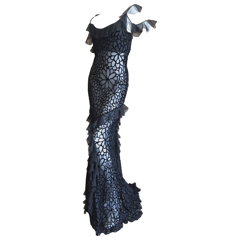 John Galliano Black Devore Velvet Ruffled Bias Cut Evening Gown 1