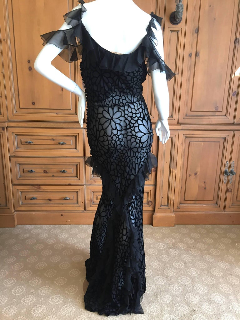 John Galliano Black Devore Velvet Ruffled Bias Cut Evening Gown 2