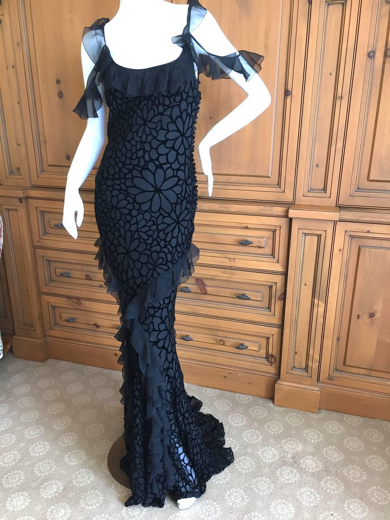 John Galliano Black Devore Velvet Ruffled Bias Cut Evening Gown 3