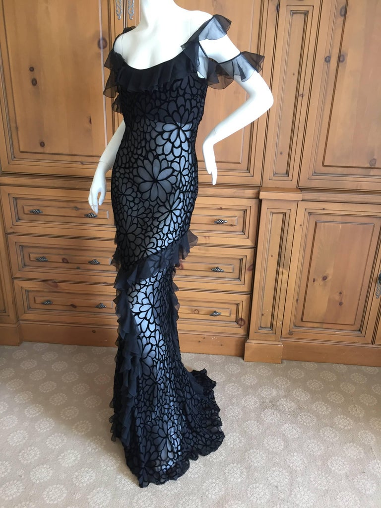 John Galliano Black Devore Velvet Ruffled Bias Cut Evening Gown 7
