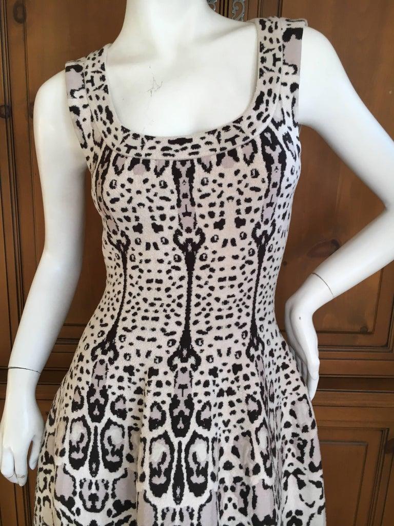 Gray Azzedine Alaia Snow Leopard Sleeveless Dress Size 40  New For Sale