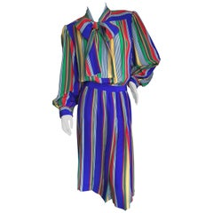 Yves Saint Laurent Rive Gauche 1970's Stripe Silk Day Dress with Bow
