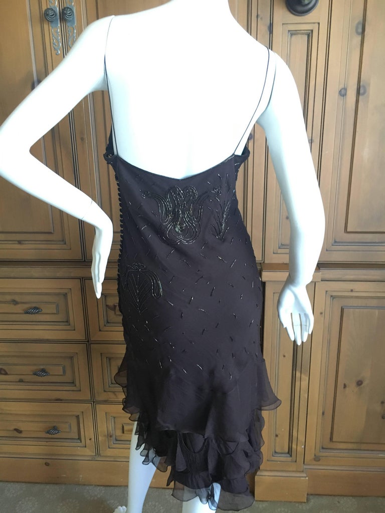 Christian Dior Bead Embellished Silk Chiffon Cocktail Dress by John Galliano  For Sale 5