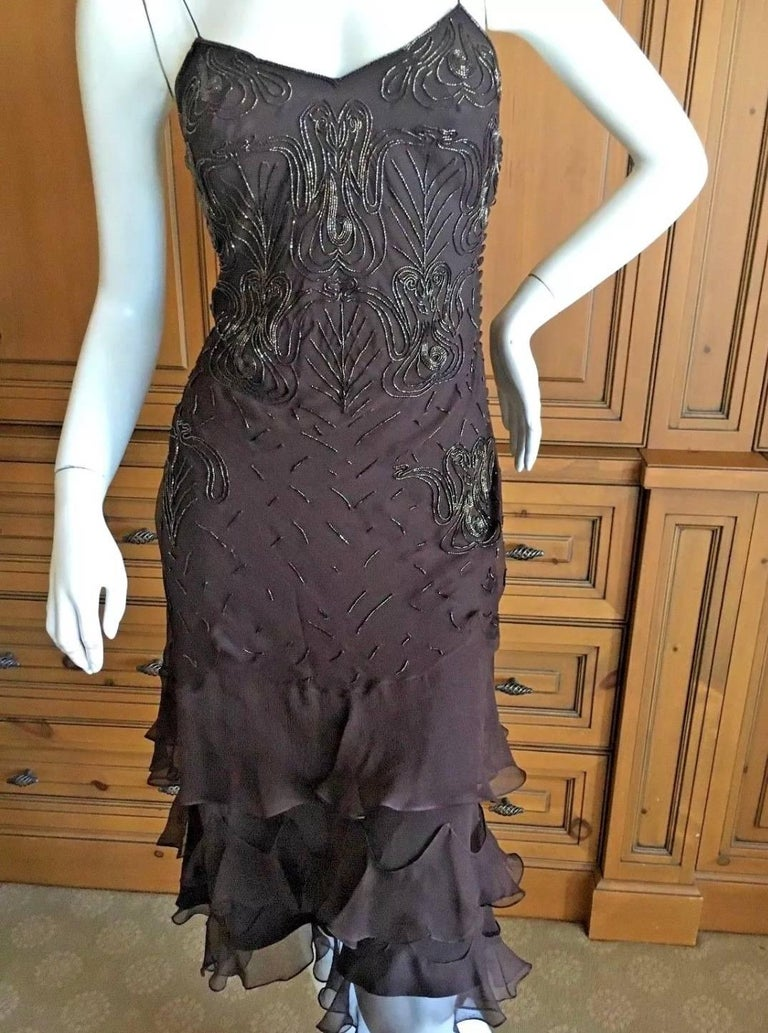 Women's Christian Dior Bead Embellished Silk Chiffon Cocktail Dress by John Galliano  For Sale