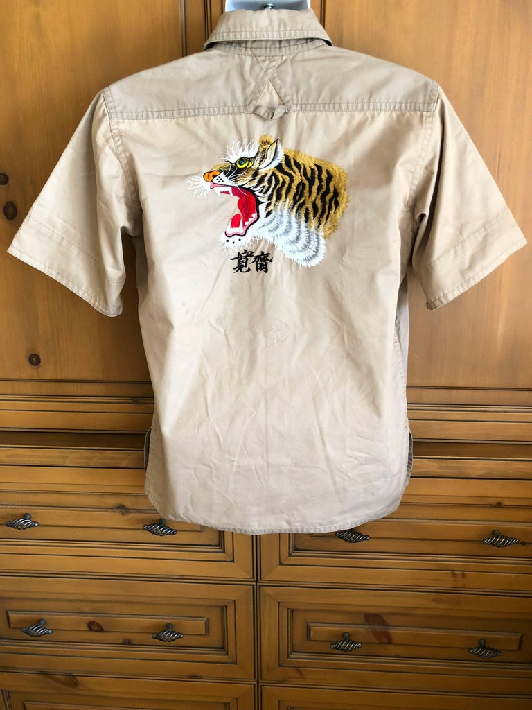 Kansai Yamamoto Khaki Men's Military Shirt with Tiger Embroidery For Sale 4