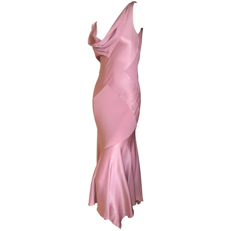 John Galliano 1990s Bias Cut Rose Color Diamond Pattern Cowl Front Dress For Sale