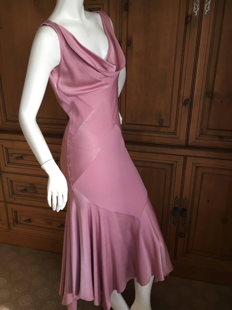 """John Galliano 1990's Bias Cut Rose Color Diamond Pattern Cowl Front Dress. From the early 90's, this has a matte / shine treatment, and has a cloth label from the earlier Galliano collection. Size 40 Bust 42' Waist 32"""" Hips 42"""" Length"""