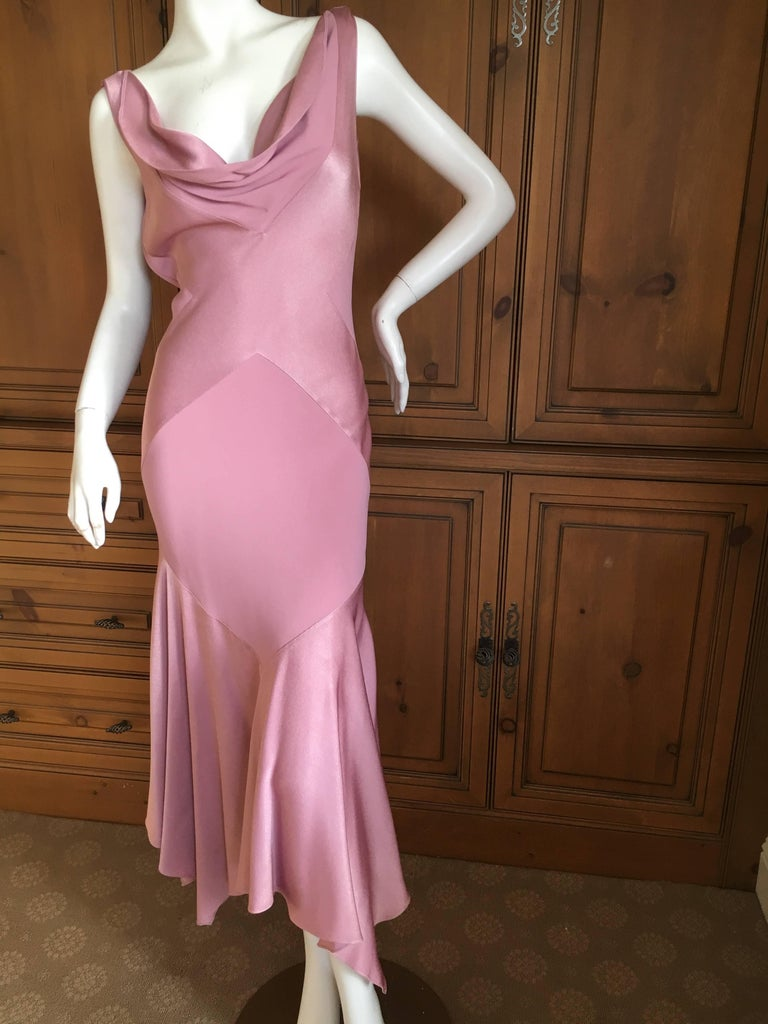 John Galliano 1990s Bias Cut Rose Color Diamond Pattern Cowl Front Dress In Excellent Condition For Sale In San Francisco, CA