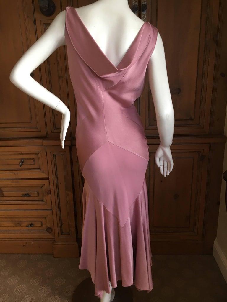 Women's John Galliano 1990s Bias Cut Rose Color Diamond Pattern Cowl Front Dress For Sale