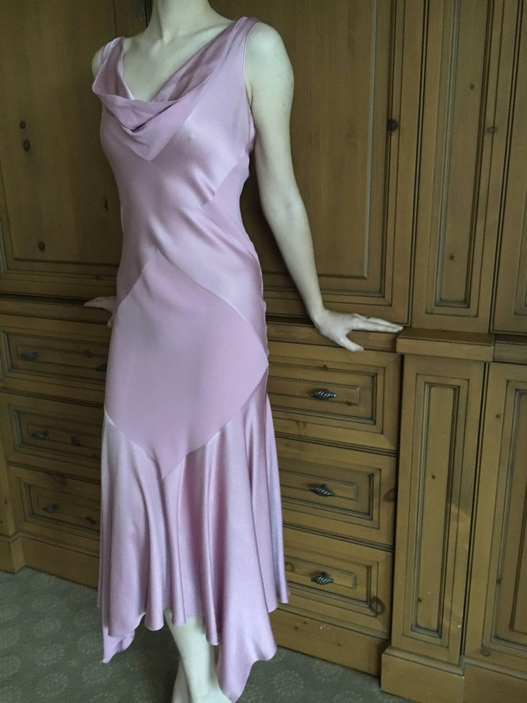 John Galliano 1990s Bias Cut Rose Color Diamond Pattern Cowl Front Dress For Sale 3