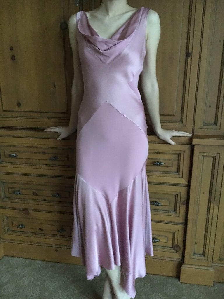 John Galliano 1990s Bias Cut Rose Color Diamond Pattern Cowl Front Dress For Sale 4
