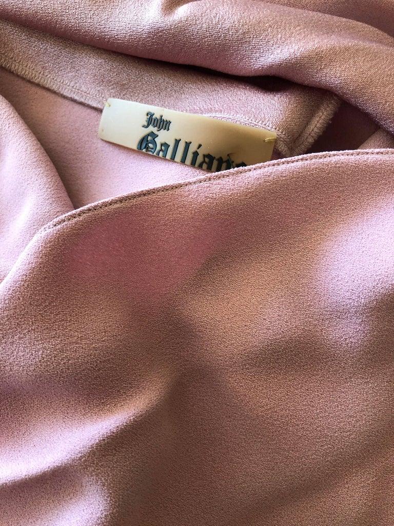John Galliano 1990s Bias Cut Rose Color Diamond Pattern Cowl Front Dress For Sale 5
