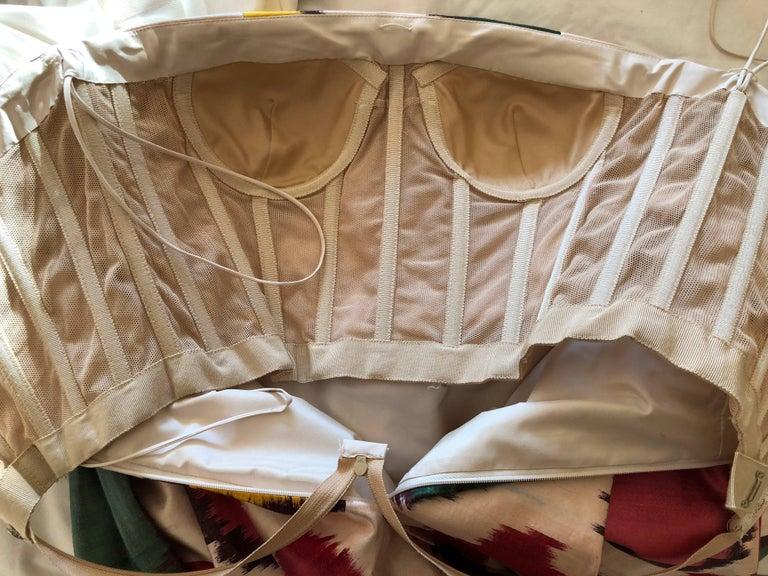 Women's Oscar de la Renta Silk Blend Ikat Print Strapless Cocktail Dress Sz 4 2008 For Sale