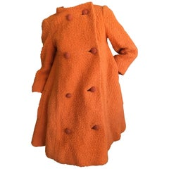 Bergdorf Goodman 1965 Babydoll Boucle A Line Swing Coat